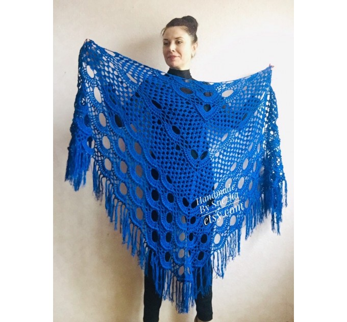 Bridesmaid shawl Navy Blue wedding shawl fringe, White crochet bridal cover up Hand knit crochet Bridal wrap Outlander lace shawl pin brooch  Shawl / Wraps  7
