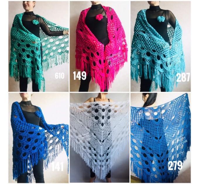 Bridesmaid shawl Navy Blue wedding shawl fringe, White crochet bridal cover up Hand knit crochet Bridal wrap Outlander lace shawl pin brooch  Shawl / Wraps  5