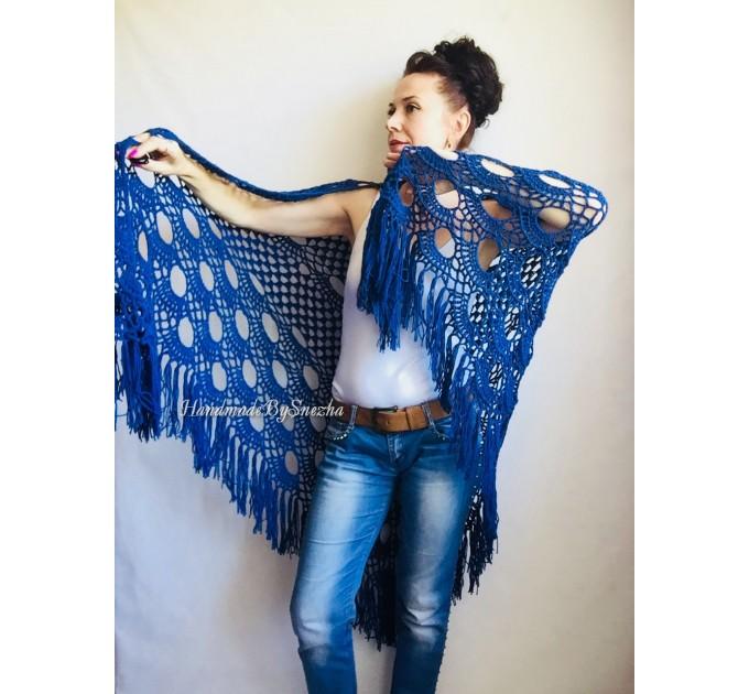Bridesmaid shawl Navy Blue wedding shawl fringe, White crochet bridal cover up Hand knit crochet Bridal wrap Outlander lace shawl pin brooch  Shawl / Wraps  4
