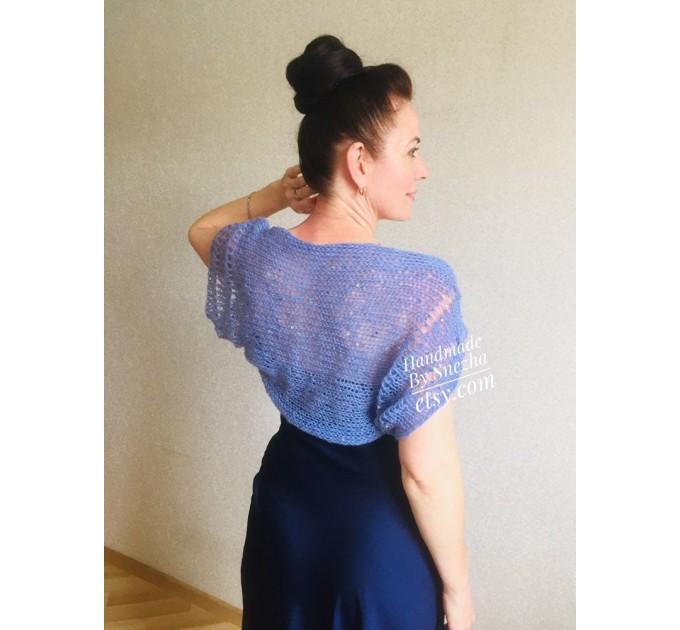 Blue Wedding Bolero Shrug, Evening Bolero Jacket, Evening Bridal Dress Cover up, Bridesmaid Bolero, Light Lace Hand Knit Bridal Shawl Wraps  Mohair / Alpaca