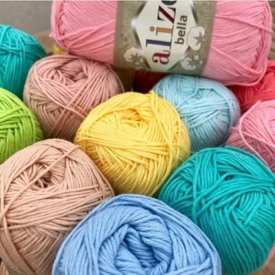 Bella Alize Yarn 100 Cotton yarn Crochet Soft baby yarn, Summer knitting yarn Organic hypoallergenic cotton Amigurumi natural eco vegan yarn