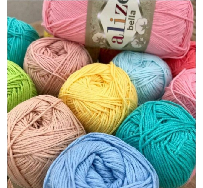 Bella Alize Yarn 100 Cotton yarn Crochet Soft baby yarn, Summer knitting yarn Organic hypoallergenic cotton Amigurumi natural eco vegan yarn  Yarn  3
