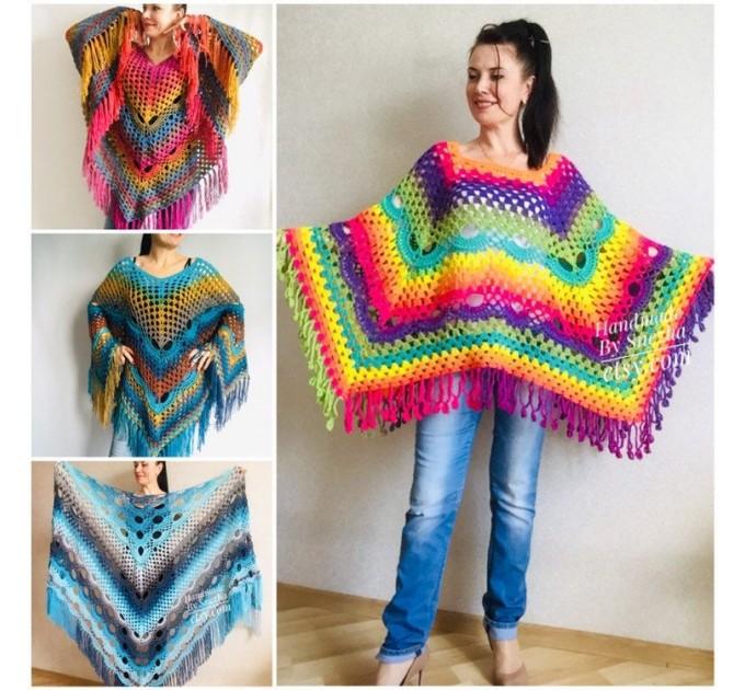 Crochet poncho women, Rainbow granny square sweater, Plus size hippie gypsy boho festival clothing, Hand knit shawl wraps fringe  Poncho  1