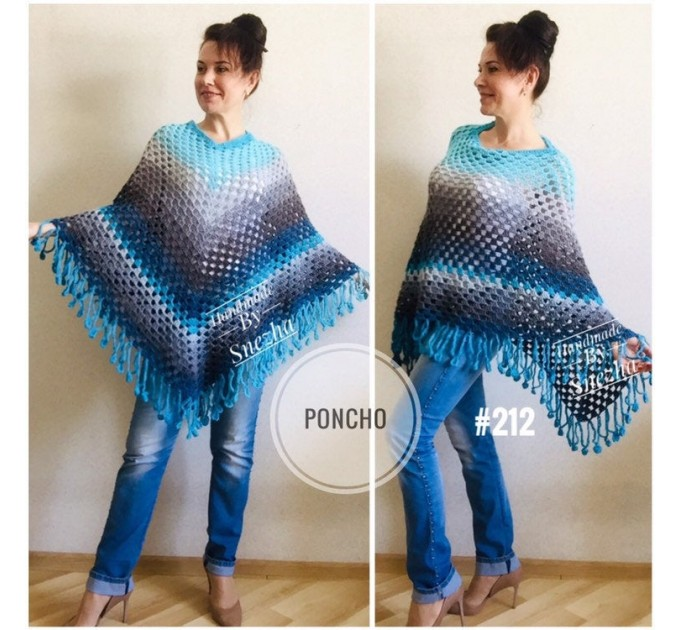 Crochet poncho women, Rainbow granny square sweater, Plus size hippie gypsy boho festival clothing, Hand knit shawl wraps fringe  Poncho  5
