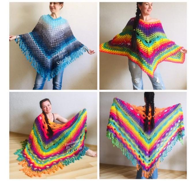 Crochet poncho women, Rainbow granny square sweater, Plus size hippie gypsy boho festival clothing, Hand knit shawl wraps fringe  Poncho  8