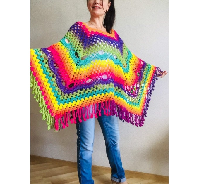 Crochet poncho women, Rainbow granny square sweater, Plus size hippie gypsy boho festival clothing, Hand knit shawl wraps fringe  Poncho  9