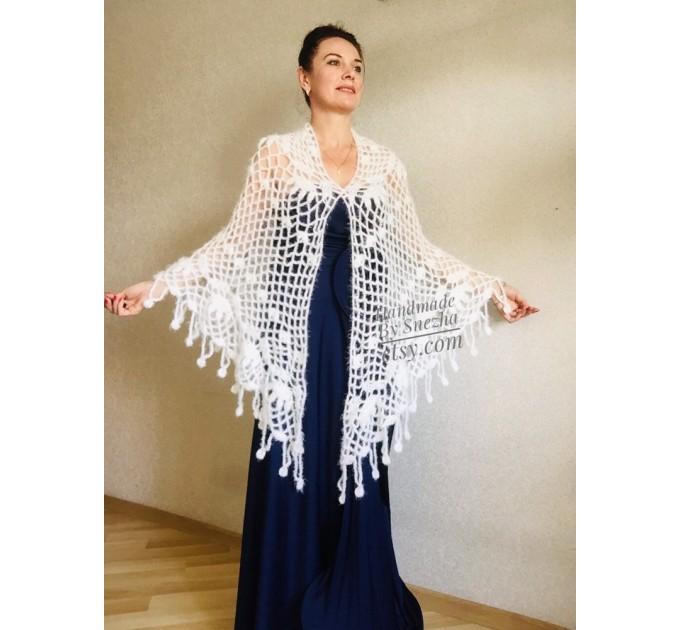 Ivory bridesmaid shawl Wedding shawl White faux fur Winter bridal bolero Vegan knit wrap Beige bridal cover up Navy Blue Fuzzy rustic shawl  Wedding  3