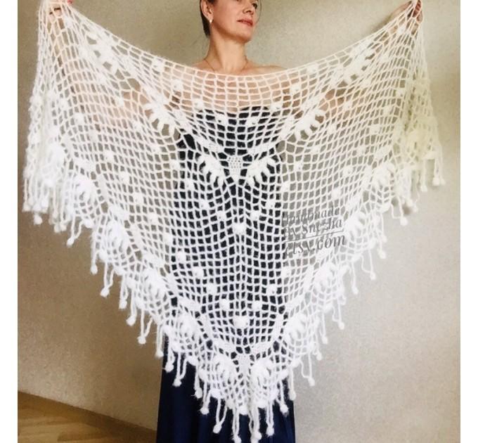 Ivory bridesmaid shawl Wedding shawl White faux fur Winter bridal bolero Vegan knit wrap Beige bridal cover up Navy Blue Fuzzy rustic shawl  Wedding  6