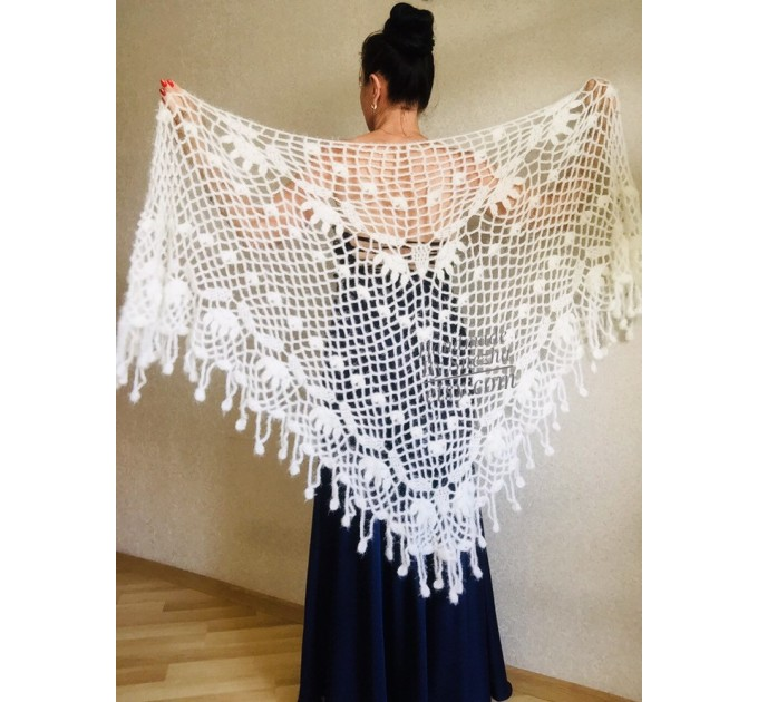 Ivory bridesmaid shawl Wedding shawl White faux fur Winter bridal bolero Vegan knit wrap Beige bridal cover up Navy Blue Fuzzy rustic shawl  Wedding  8