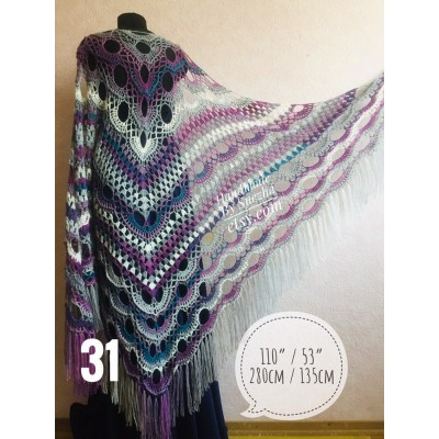 Crochet Shawl Triangle Scarf Women Fringe Rustic Wedding, Purple Mohair Alpaca Gray Big Size Maxi Shawl Hand knit Poncho, White Green Blue