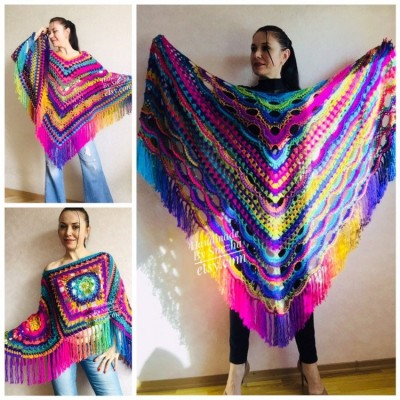 Outlander Crochet Shawl Rainbow Poncho Cape Fringe Hand Knit Triangle Scarf Women Lace Evening Wraps Men Vegan Plus Size Multicolor festival