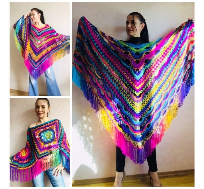 Outlander Crochet Shawl Rainbow Poncho Cape Fringe Hand Knit Triangle Scarf Women Lace Evening Wraps Men Vegan Plus Size Multicolor festival  Shawl / Wraps