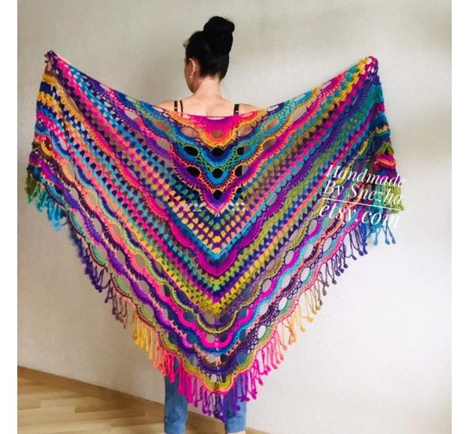Outlander Crochet Shawl Rainbow Poncho Cape Fringe Hand Knit Triangle Scarf Women Lace Evening Wraps Men Vegan Plus Size Multicolor festival  Shawl / Wraps  2