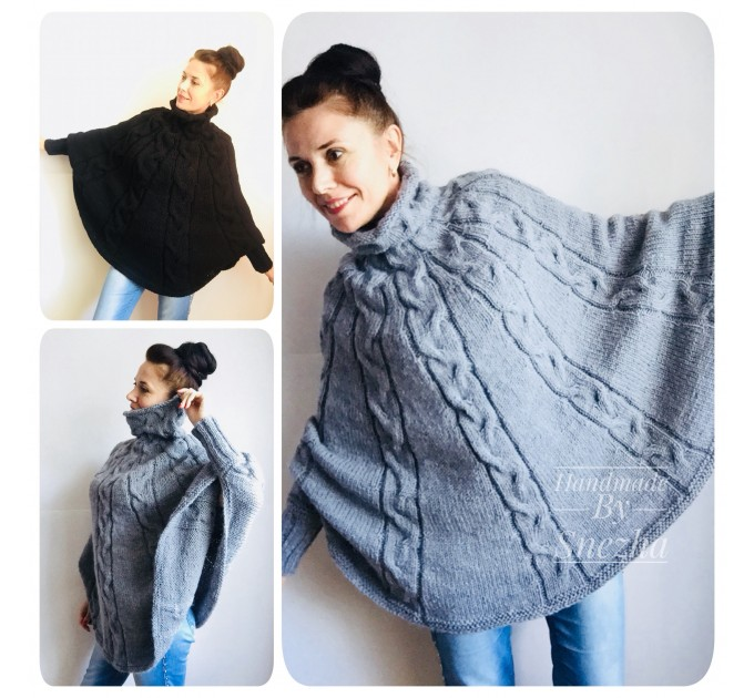 Hand knit poncho women Black wool cloak travel poncho, Knit cable sweater, Plus size oversized sweater, Mom-birthday-gift-from-daughter  Poncho  2