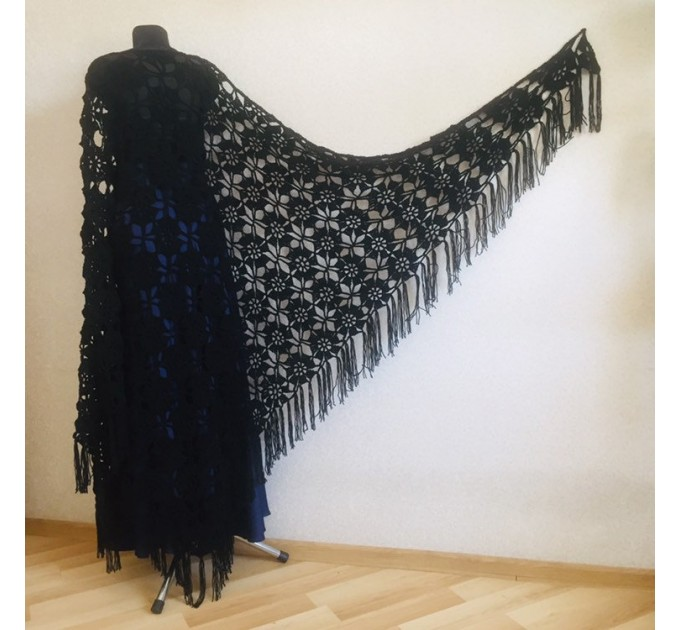 Black lace outlander crochet Shawl Wraps Fringe, Hand Knit Flowers festival pashmina Mother of groom gift, Bridesmaid wedding triangle shawl  Shawl / Wraps  4