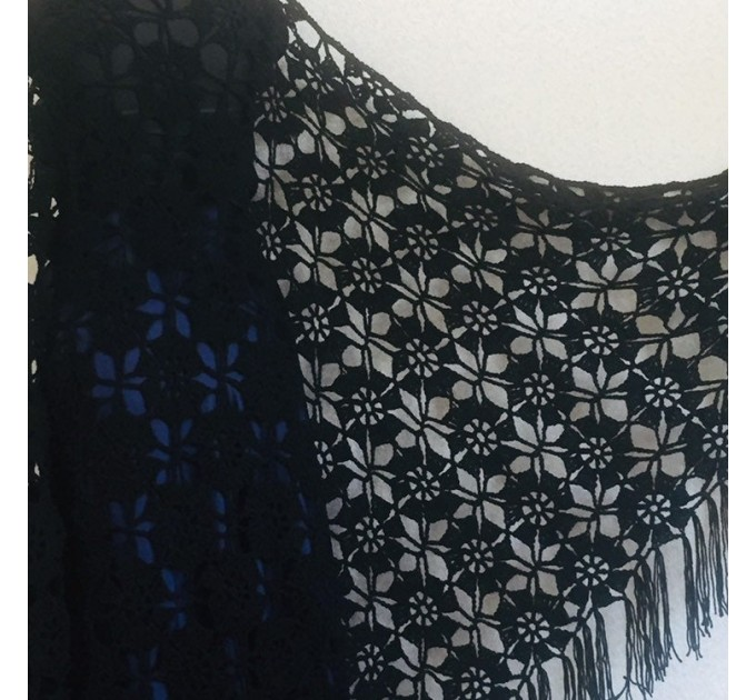 Black lace outlander crochet Shawl Wraps Fringe, Hand Knit Flowers festival pashmina Mother of groom gift, Bridesmaid wedding triangle shawl  Shawl / Wraps  7