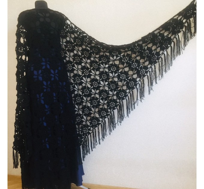 Black lace outlander crochet Shawl Wraps Fringe, Hand Knit Flowers festival pashmina Mother of groom gift, Bridesmaid wedding triangle shawl  Shawl / Wraps  8