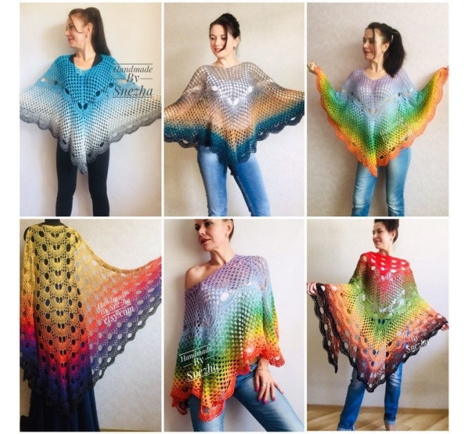 Crochet Poncho Women Cotton Boho Shawl Big Size Vintage Rainbow Knit Cape Hippie Gift for Her Bohemian Vibrant Colors Boat Neck  Poncho