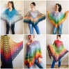 Crochet Poncho Women Cotton Boho Shawl Big Size Vintage Rainbow Knit Cape Hippie Gift for Her Bohemian Vibrant Colors Boat Neck