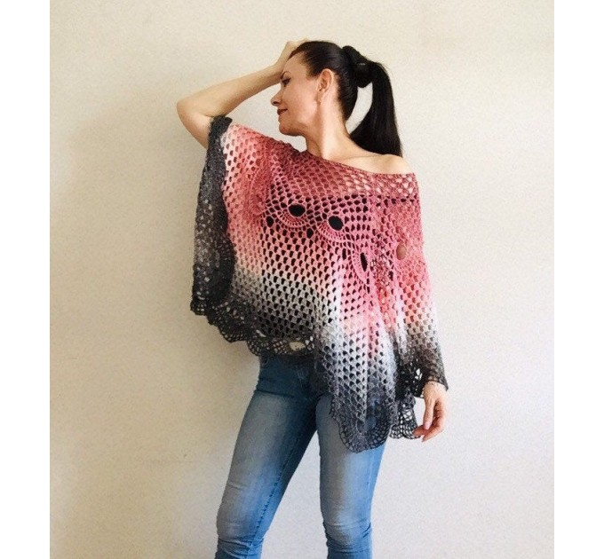 Crochet Poncho Women Cotton Boho Shawl Big Size Vintage Rainbow Knit Cape Hippie Gift for Her Bohemian Vibrant Colors Boat Neck  Poncho  2