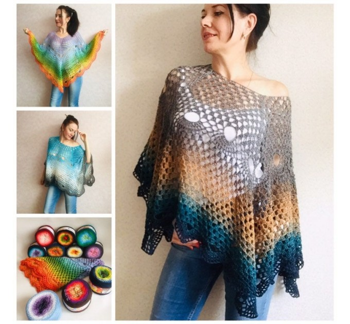 Crochet Poncho Women Cotton Boho Shawl Big Size Vintage Rainbow Knit Cape Hippie Gift for Her Bohemian Vibrant Colors Boat Neck  Poncho  3