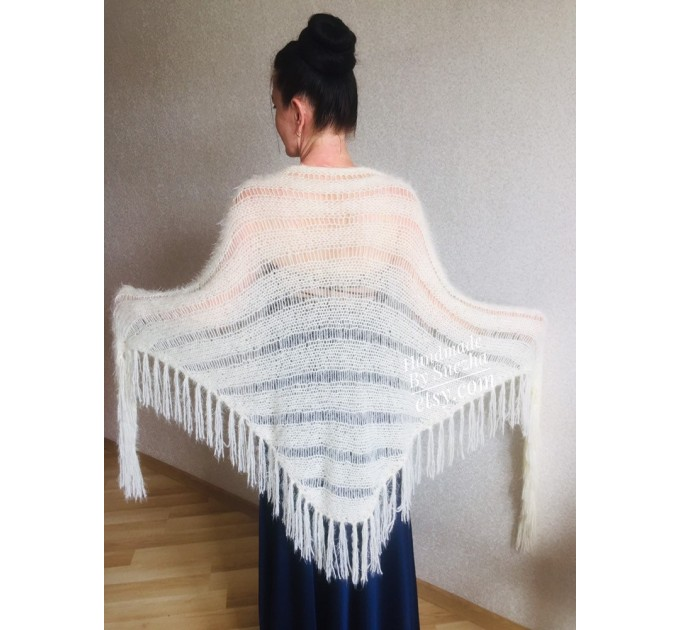 Ivory bridesmaid shawl fringe, Triangle crochet outlander hand knit scarf Faux fur wrap stole, Mother of groom gift Rustic bridal lace shawl  Shawl / Wraps