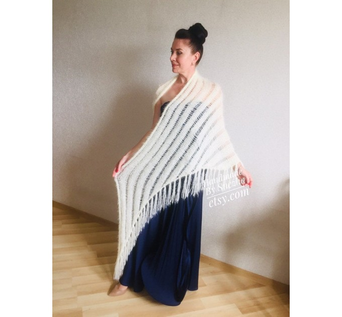 Ivory bridesmaid shawl fringe, Triangle crochet outlander hand knit scarf Faux fur wrap stole, Mother of groom gift Rustic bridal lace shawl  Shawl / Wraps  7