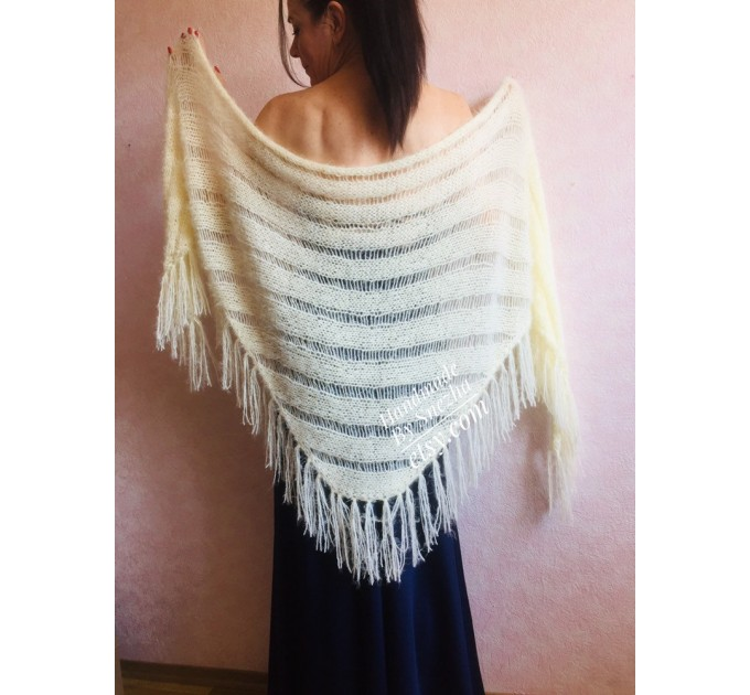 Ivory bridesmaid shawl fringe, Triangle crochet outlander hand knit scarf Faux fur wrap stole, Mother of groom gift Rustic bridal lace shawl  Shawl / Wraps  9