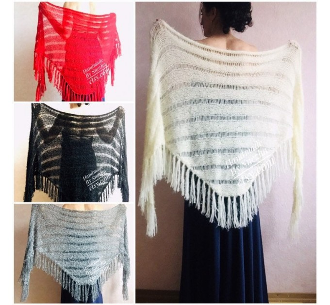 Ivory bridesmaid shawl fringe, Triangle crochet outlander hand knit scarf Faux fur wrap stole, Mother of groom gift Rustic bridal lace shawl  Shawl / Wraps  10
