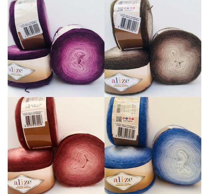 ANGORA GOLD OMBRE Batik Alize Yarn Gradient Multicolor Flowers Crochet Shawl Wraps soft Yarn mandala Knitting Wool Sweater Scarf, Hat Poncho  Yarn  4