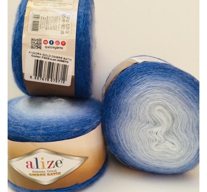 ANGORA GOLD OMBRE Batik Alize Yarn Gradient Multicolor Flowers Crochet Shawl Wraps soft Yarn mandala Knitting Wool Sweater Scarf, Hat Poncho  Yarn  9
