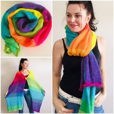 Rainbow Mohair scarf women, Knitted long striped winter scarf men, Lace Gradient shawl wraps mohair, Floral light oversized scarf