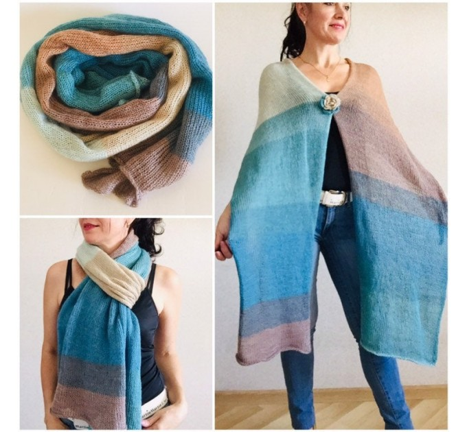 Beige Knit scarf women, Long striped Mohair winter scarf men, Lace Gradient shawl wraps mohair, Oversized scarf Blue Turquoise Rainbow   Mohair / Alpaca  2