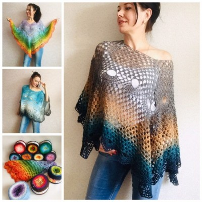 Crochet poncho for women, cotton dress top, hand knit blue wrap, women's vegan poncho gifts for wife, cotton summer poncho Navy blue Rainbov