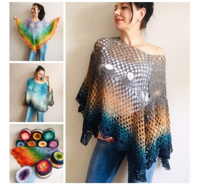 Crochet poncho for women, cotton dress top, hand knit blue wrap, women's vegan poncho gifts for wife, cotton summer poncho Navy blue Rainbov  Poncho