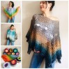 Crochet poncho for women, cotton dress top, hand knit blue wrap, women's vegan poncho gifts for wife, cotton summer poncho Navy blue Rainbov