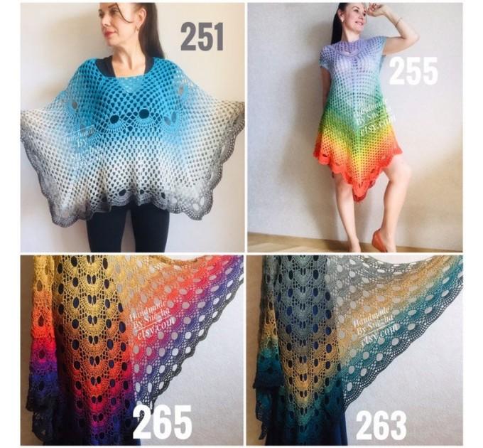 Crochet poncho for women, cotton dress top, hand knit blue wrap, women's vegan poncho gifts for wife, cotton summer poncho Navy blue Rainbov  Poncho  8