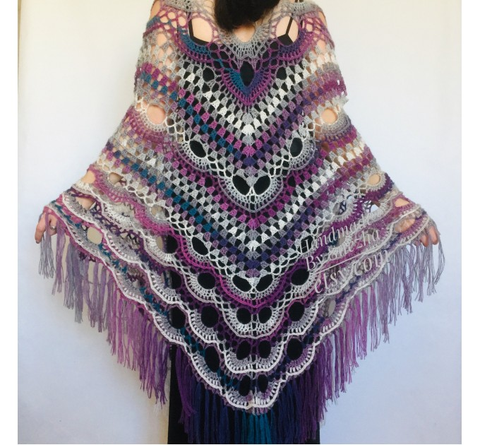 Outlander Crochet Shawl Poncho Cape Fringe Hand Knit Triangle Scarf Women Lace Evening Wraps Men Plus Size festival Clothing
