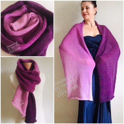 Violet Mohair scarf women, Knitted long striped winter scarf men, Lace Gradient shawl wraps mohair, Floral light oversized scarf rainbow