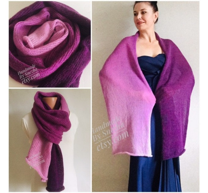 Violet Mohair scarf women, Knitted long striped winter scarf men, Lace Gradient shawl wraps mohair, Floral light oversized scarf rainbow   Mohair / Alpaca  1