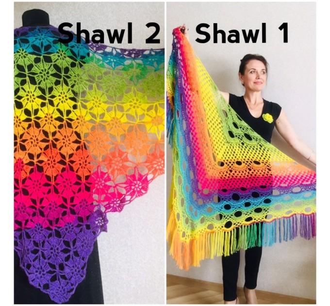 Crochet shawl wraps, Rainbow triangle granny shawl, Handknit multicolor festival pashmina, Lace wool evening shawl fringe mohair  Shawl / Wraps  10