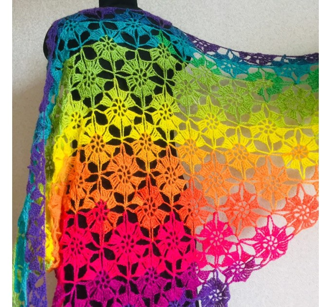 Crochet shawl wraps, Rainbow triangle granny shawl, Handknit multicolor festival pashmina, Lace wool evening shawl fringe mohair  Shawl / Wraps  7