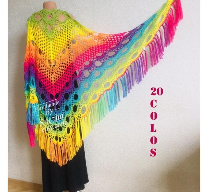 Crochet shawl wraps, Rainbow triangle granny shawl, Handknit multicolor festival pashmina, Lace wool evening shawl fringe mohair  Shawl / Wraps  8