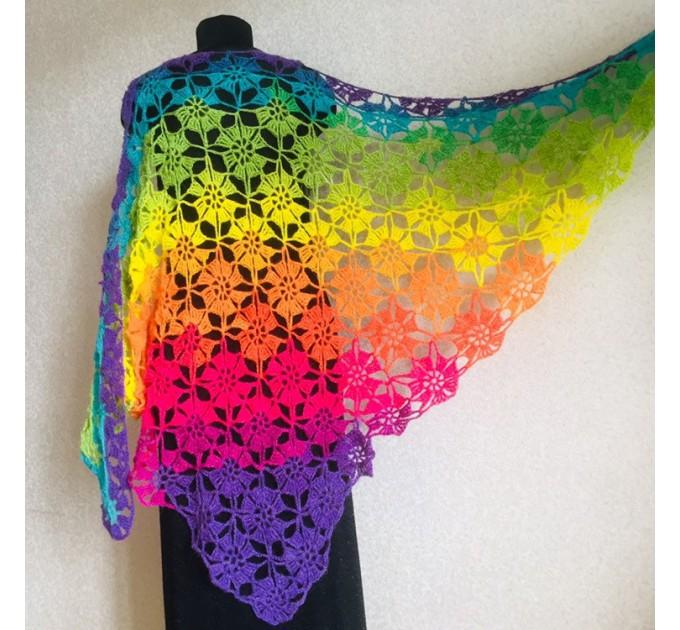 Crochet shawl wraps, Rainbow triangle granny shawl, Handknit multicolor festival pashmina, Lace wool evening shawl fringe mohair  Shawl / Wraps  5