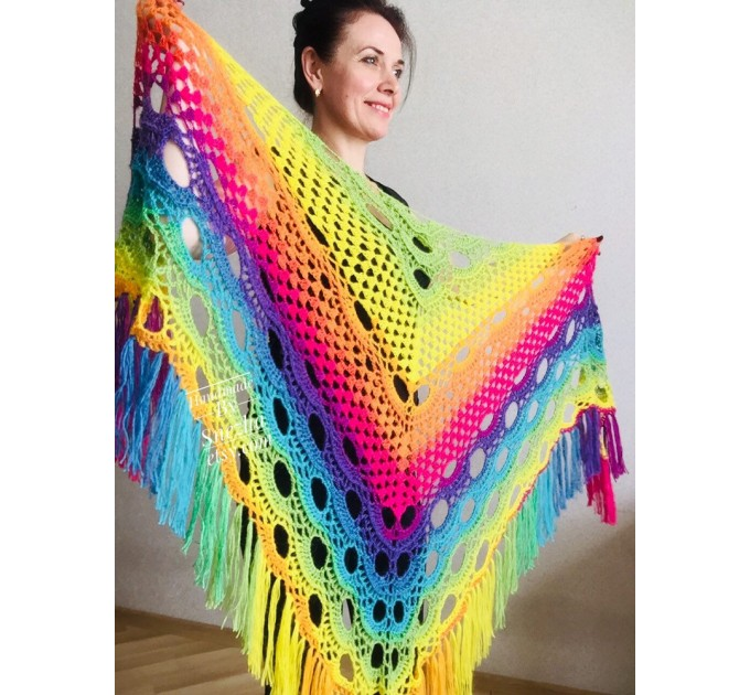Crochet shawl wraps, Rainbow triangle granny shawl, Handknit multicolor festival pashmina, Lace wool evening shawl fringe mohair  Shawl / Wraps  2