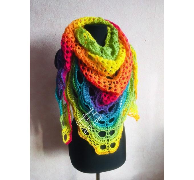 Crochet shawl wraps, Rainbow triangle granny shawl, Handknit multicolor festival pashmina, Lace wool evening shawl fringe mohair  Shawl / Wraps  3