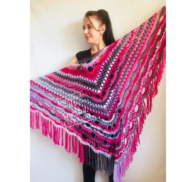 Crochet shawl wraps, Outlander shawl pin brooch, Orange festival Boho hippie hand knit shawl vegan, Crochet triangle scarf gypsy Evening  Shawl / Wraps  5