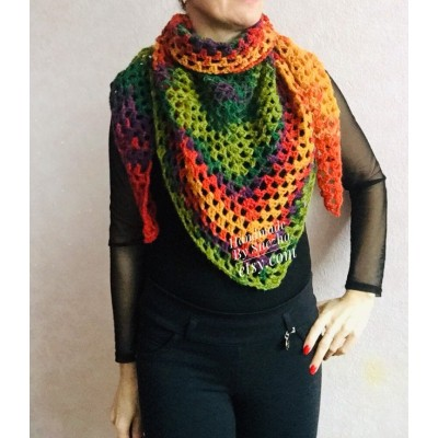 Crochet shawl triangle knit scarf women Burnt Orange Granny square mohair scarf Chunky birthday gift daughter Gift-For-Her Rainbow