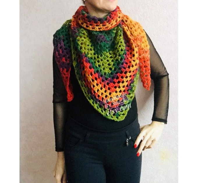 Crochet shawl triangle knit scarf women Burnt Orange Granny square mohair scarf Chunky birthday gift daughter Gift-For-Her Rainbow   Mohair / Alpaca  1