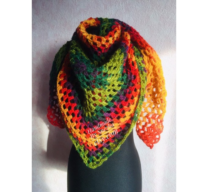 Crochet shawl triangle knit scarf women Burnt Orange Granny square mohair scarf Chunky birthday gift daughter Gift-For-Her Rainbow   Mohair / Alpaca  3